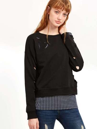 Sweat-shirt effet déchiré en écossais - noir
