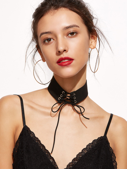 Black Lace Up Bow Choker Necklace