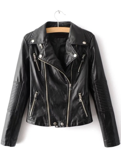 Black Lapel Zipper Embellished PU Jacket