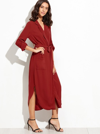 Burgundy Self Tie Warp Dress With Pockets