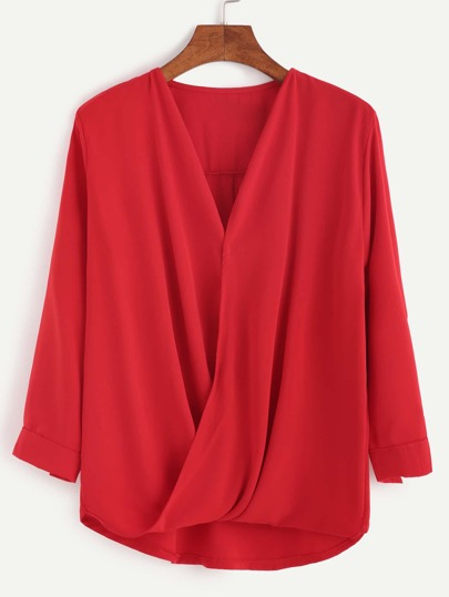 Red V Neck High Low Wrap Blouse