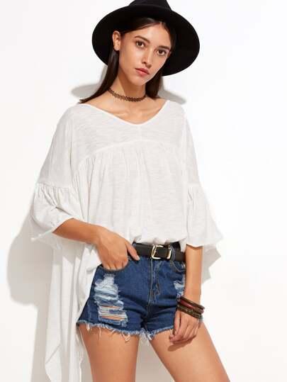 White Bell Sleeve Asymmetric Slub T-shirt