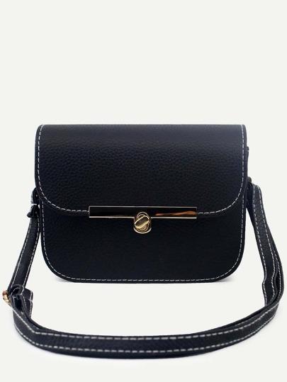 Black Pebbled PU Flap Shoulder Bag