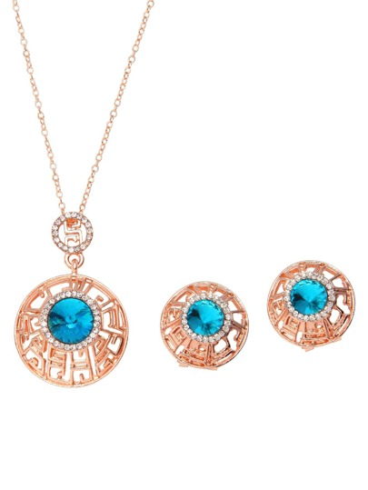 Rose Gold Circle Hollow Out Rhinestone Jewelry Set