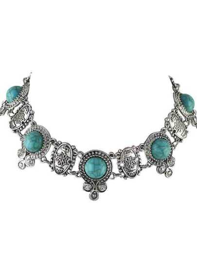 Blue Indian Design Imitation Turquoise Choker Collar Necklace