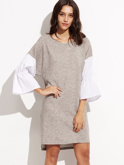Heather Grey Contrast Ruffle Sleeve High Low Dress