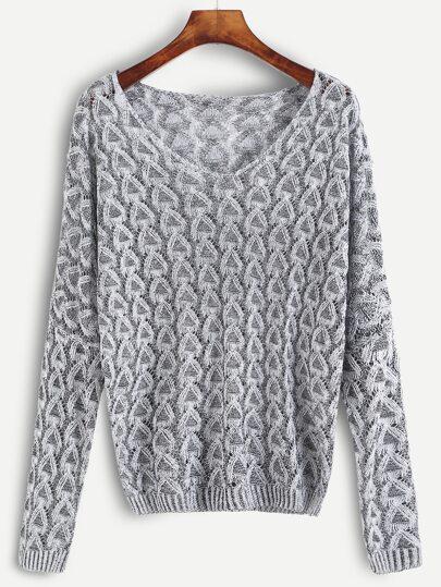 Grey Open Knit Sweater