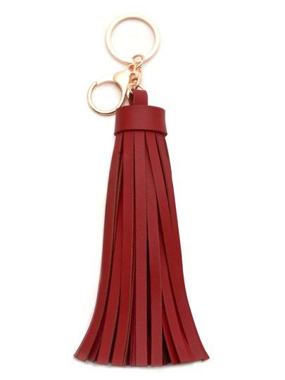 Burgundy Faux Leather Tassel Keychain