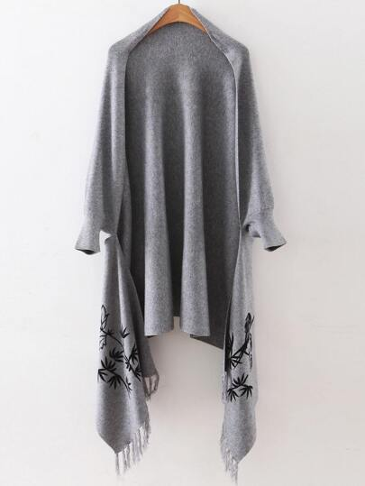 Grey Graphic Pattern Fringe Poncho Sweater