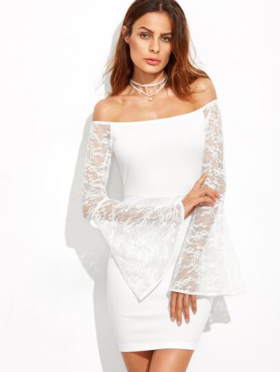 White Lace Bell Sleeve Off The Shoulder Bodycon Dress