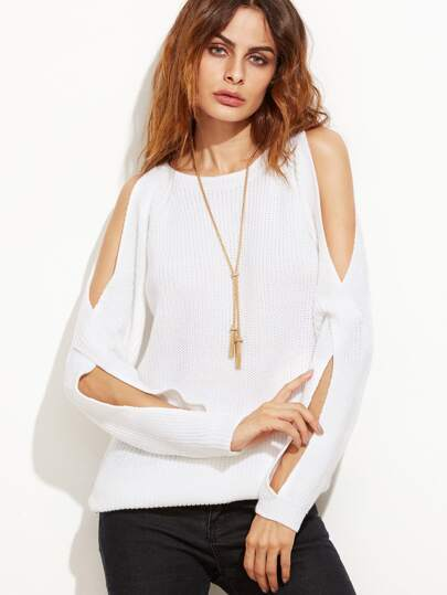 White Crossover Split Sleeve Sweater