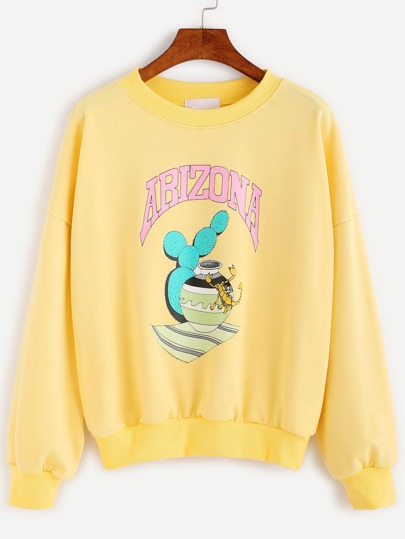 Yellow Cartoon Print Drop Shoulder Sweatshirt