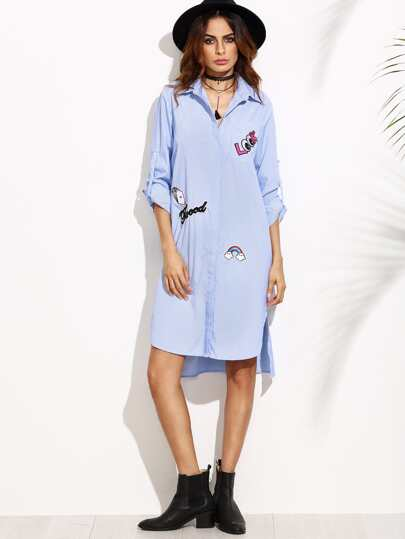Blue Striped Hidden Button Shirt Dress With Lovely Patch