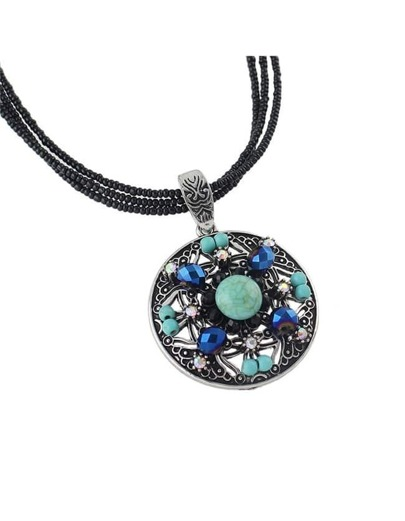 Silver Beads Turquoise Pendant Necklace