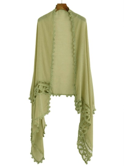Olive Yellow Applique Hollow Out Scarf