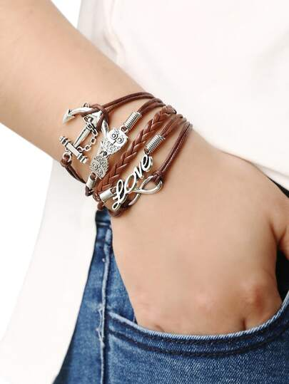 Braided Leather Bracelet With Anchor And Owl