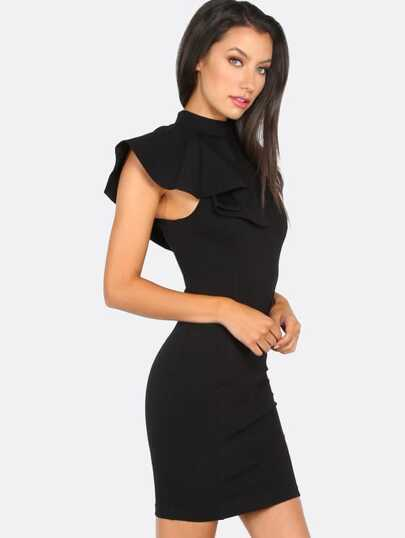Mock Neck Pleated Shoulder Dress BLACK
