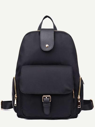 Black Nylon Front Pocket Zip Closure Backpack