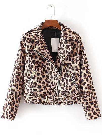 Leopard Oblique Zipper Jacket With Belt