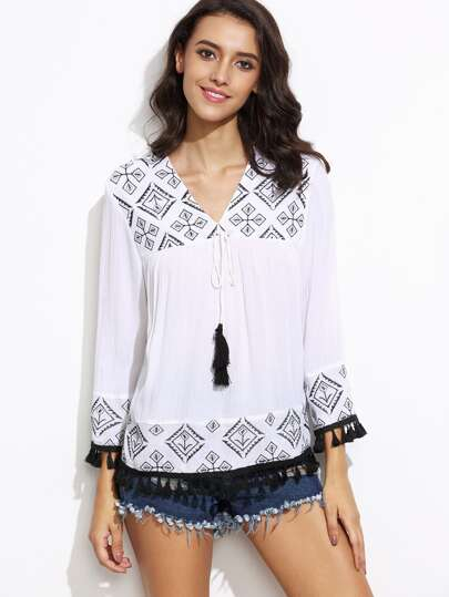 White Tassel Trim Tribal Embroidery Blouse