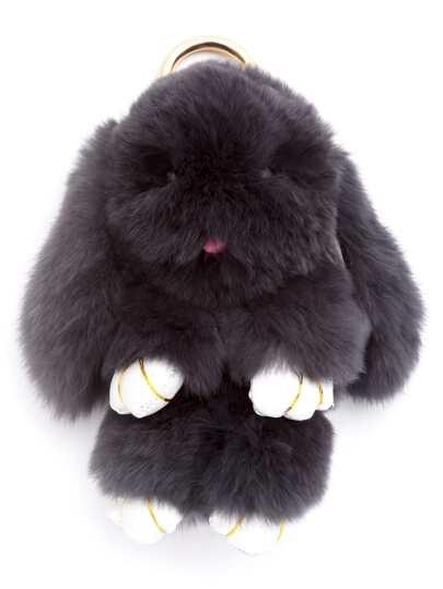 Porte-clés en forme de lapin duveteux - gris foncé