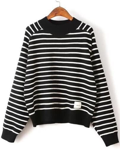 Black Striped Crew Neck Batwing Sleeve Sweater