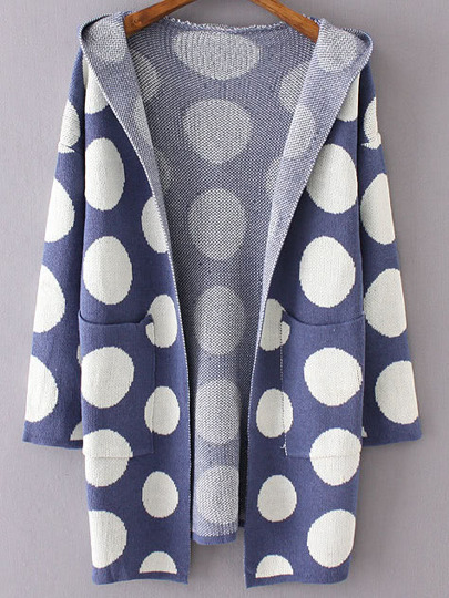 Blue Polka Dot Hooded Cardigan With Pockets