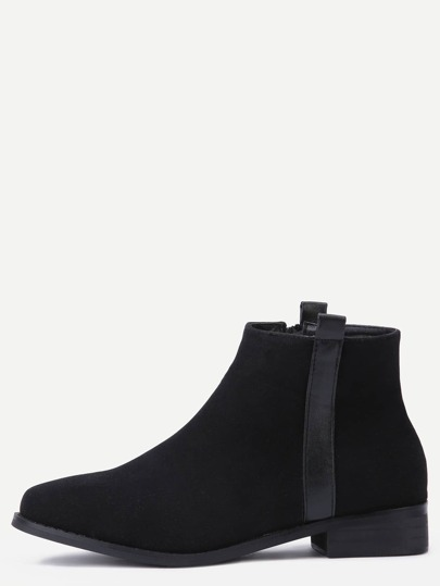 Black Suede Side Zipper Ankle Boots