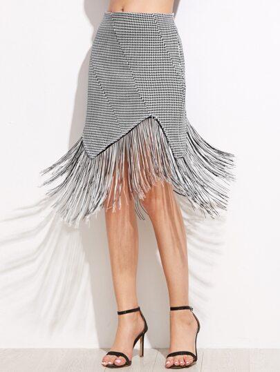 Black Plaid Asymmetrical Tassel Hemline Skirt