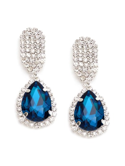 Blue Rhinestone Encrusted Drop Earrings