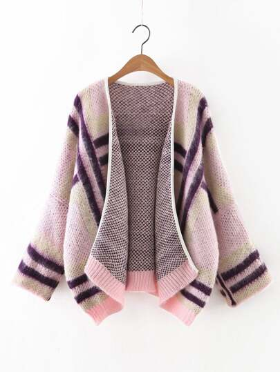 Pink Contrast Ribbed Trim Dolman Sleeve Sweater Coat