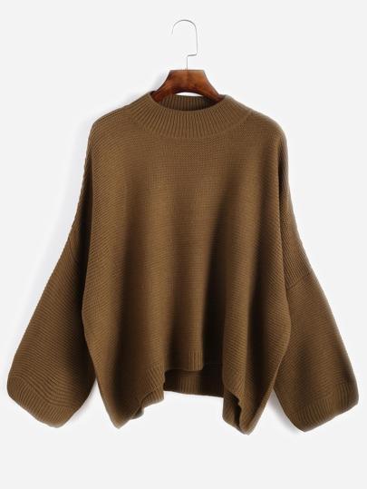 Khaki Drop Shoulder Loose Sweater