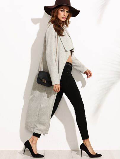 Grey Chevron Tweed Shawl Collar Duster Coat