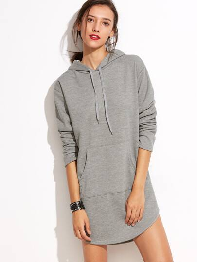 Vestido estilo sudadera con capucha y bolsillo - gris