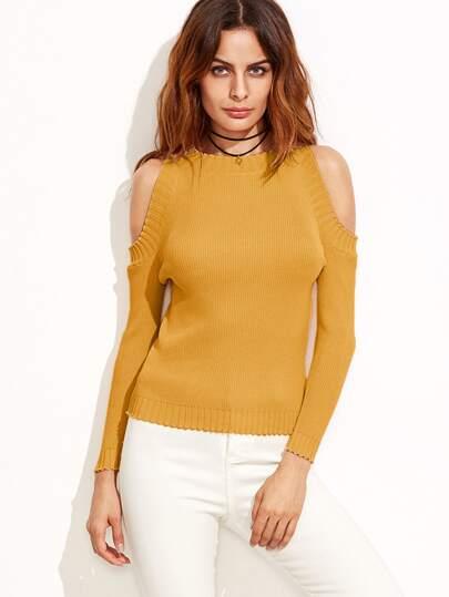 Pull tricoté à nervures épaules ouvertes - moutarde