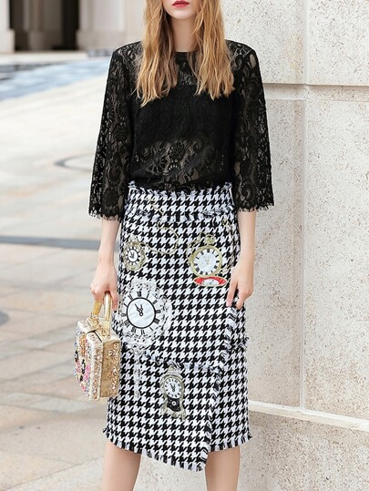 Black Lace Top With Embroidered Houndstooth Skirt