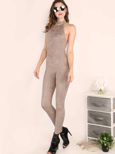 Grey Halter Neck Open Back Skinny Jumpsuit
