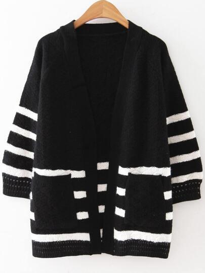 Black Striped Raglan Sleeve Pocket Sweater Coat