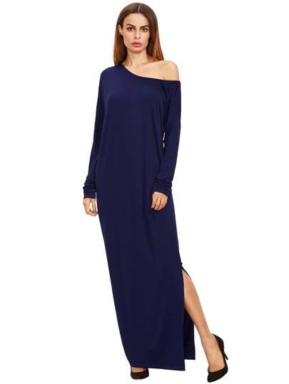 Royal Blue Oblique Shoulder Boatneck Bat Sleeve Slit Dress