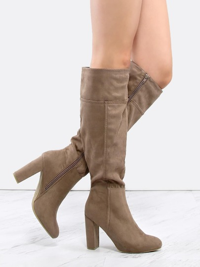 Suede Chunky Heel Knee Boots TAUPE