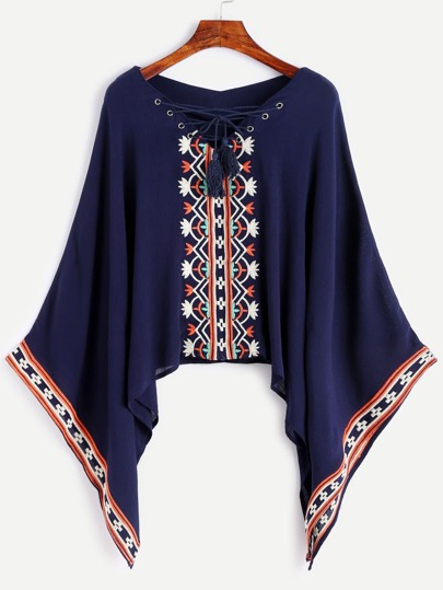 Navy Lace Up Embroidered Blouse