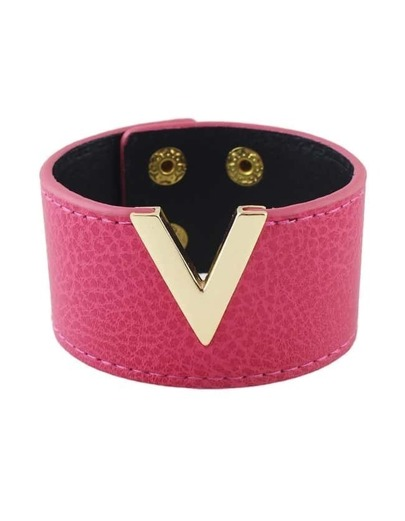 Hotpink Pu Leather Wide Bangles