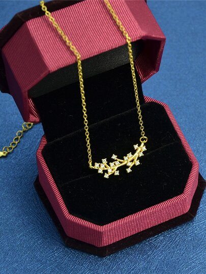 Gold Rhinestone Branch Pendant Necklace