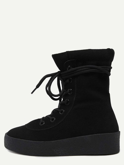 Black Faux Suede Rubber Soled Martin Boots