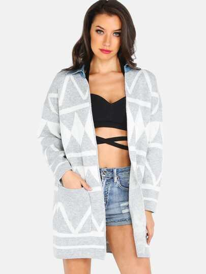 Denim Collared Geometric Pattern Knit Cardigan GREY