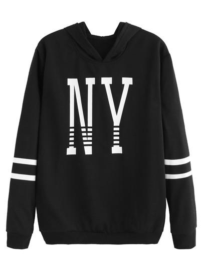 Black Letter Print Striped Hooded Sweatshirt