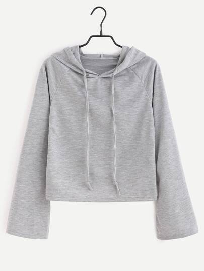 Grey Raglan Sleeve Drawstring Hooded T-shirt