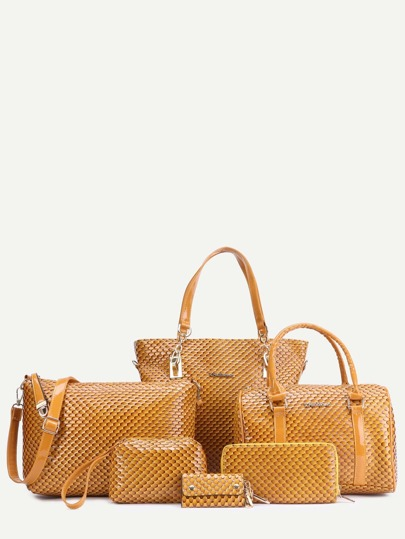 Coffee Embossed PU 6 Pieces Tote Bag Set