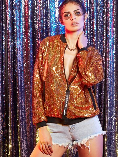 Yellow Zipper Up Sequin Bomber Jacket