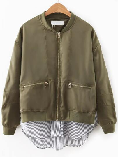 Army Green Contrast Hem Zipper Pocket Flight Jacket